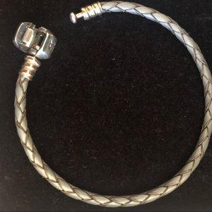 Pandora Jewelry - Grey Pandora Leather Small Charm Bracelet